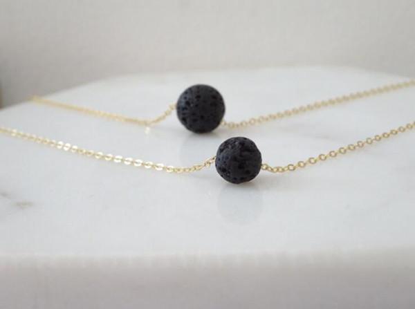 Multilayer lave-rock perle ronde Colliers Pendentif Aromathérapie Huile Essentielle Diffuseur Colliers Naturel Noir Lava Collier avec pendentif