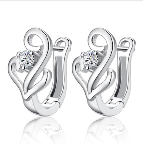 Silver Bowknot Earrings Crystal Heart Shampoo Ladies High Quality Fashion Jewelry Earrings Wholesale Korean Women