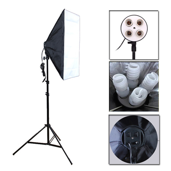 Studio Accessories Photo Studio Softbox Kit Four Socket Lamp Holder + 50*70CM Flash Lighting Softbox +2m Light Stand Photo Soft Box