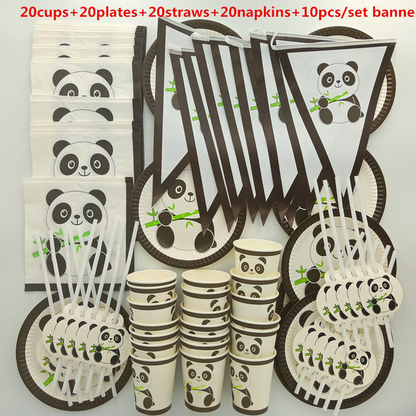best selling 20 people cute lovely Panda Tableware Set Children happy Birthday kids baby boy girl 1st shower Party Supplies Decoration