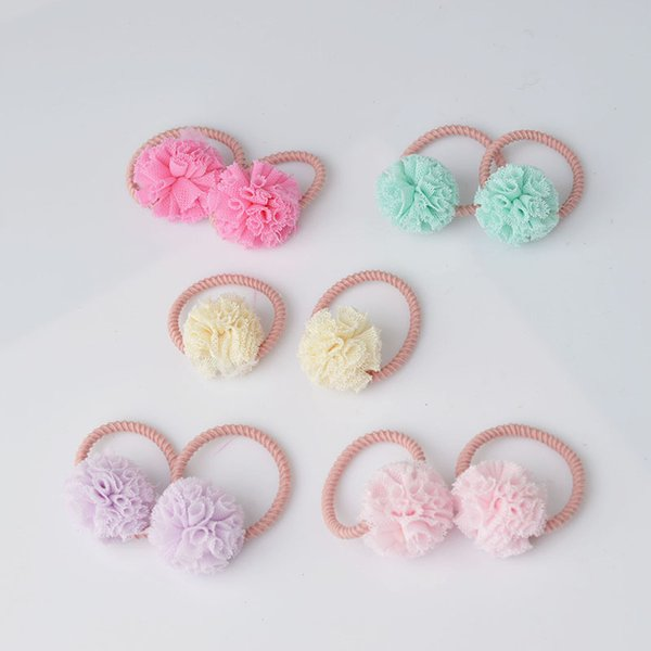 2 pieces Cute Little Girls' Pompom Hair Ties Ball Elastic Hair Band for kids Hair Accessories AS0179