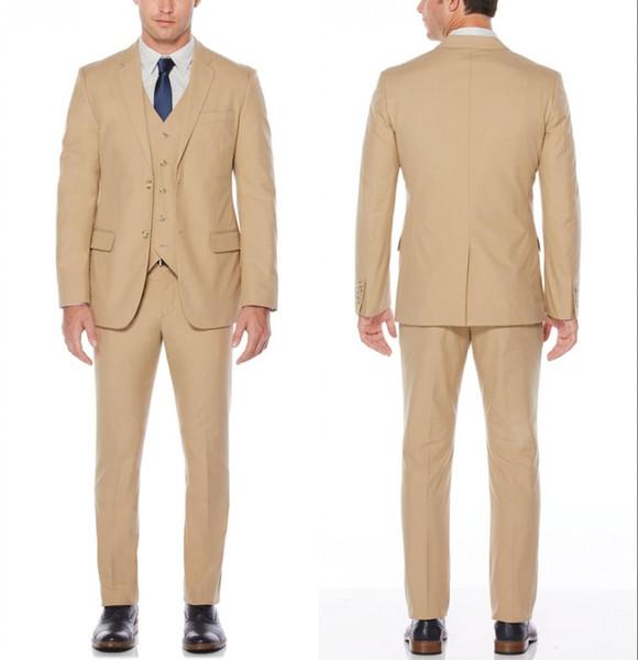 Smoking da sposo a due bottoni in stile classico beige nuovissimo Abiti da sposo da uomo (giacca + pantaloni + gilet)
