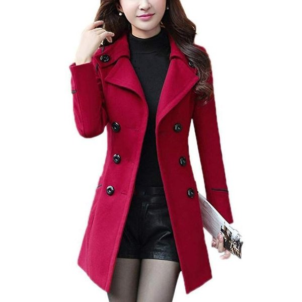 Plus Size Winter Women&s Wool Coat Belt Double-breasted Coat Outerwear Turn-down Collar Casual Warm Blend Trench Jacket