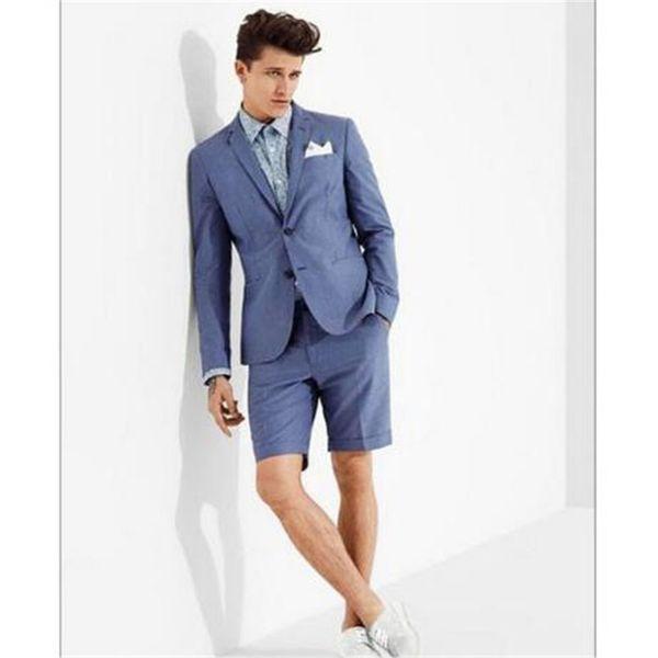 sneakers for cheap 6c933 1f84b Acquista Abito Blu Casual Da Uomo Con Pantalone Corto Slim Fit 2 Pezzi  Giacca + Pantaloni + Cravatta Ultimo Abito Da Sposo Smoking Personalizzato  Da ...