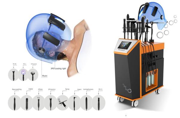 multi-fonctionnelle de l'eau sans aiguille du visage masque à oxygène inject machine soins de la peau RF pour l'élimination de la cellulite Matériel d'amincissement