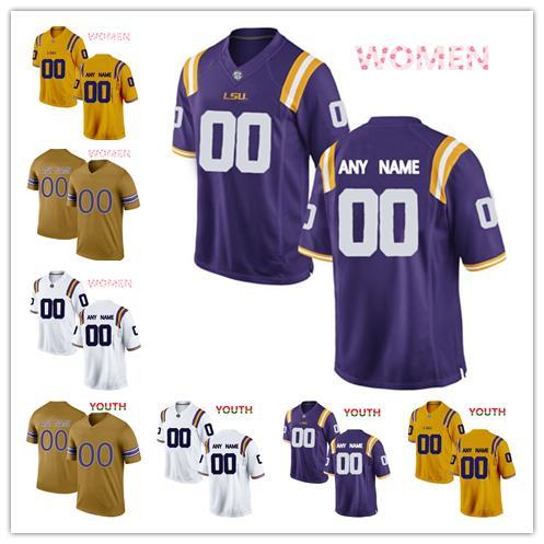 NCAA LSU Tigers jerseys Michael Ostrom 30 Stephen Sullivan 10 David Ducre 41 jersey MEN WOMEN YOUTH yellow purple White gold football jersey