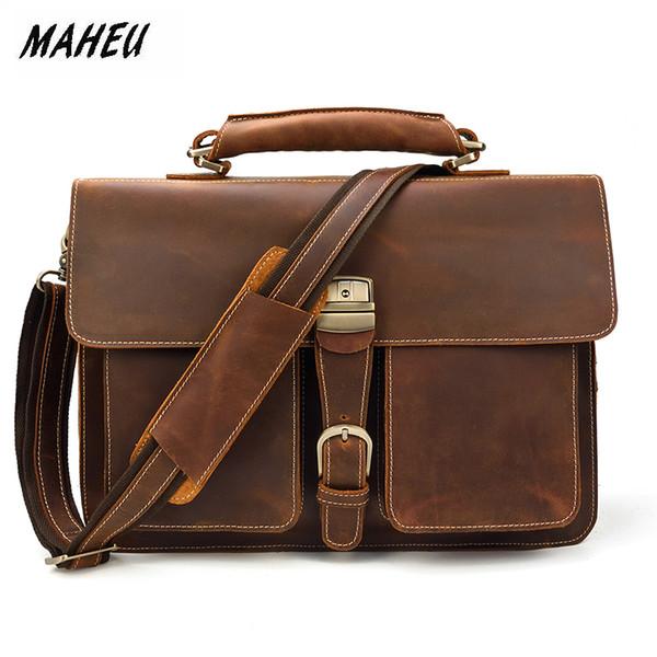 MAHEU Brand Designer Business Man Brief Case Crazy Horse PC Laptop Bags Soft Leather Official Messenger Bag For Men With Handle