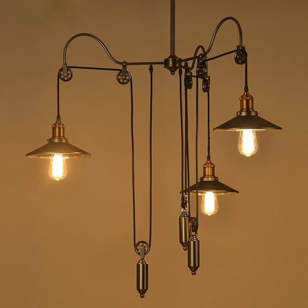 Loft Hanglamp Retro Wrought Iron Vintage Chandeliers Industrial Adjustable Pulley Loft Pendant Lamps Pendant LampsFixture