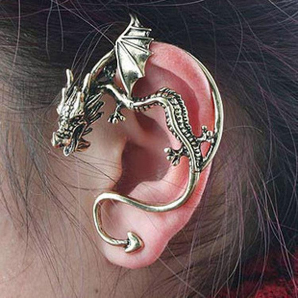 best selling Ears Cuffing Retro Vintage Silver Bronze Punk Temptation Dragon Bite Ear Cuff Clip Wrap Earring Cip On Earrings