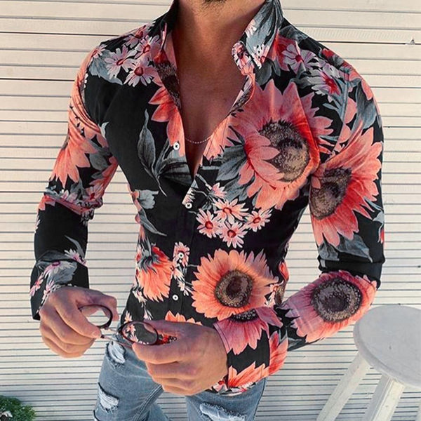 top popular New Men's Floral Shirt Long Sleeve Casual Shirt Fashion Rose Flower 3D Printed Turn-down Collar Slim Fit Shirt For Mens Clothing 2021