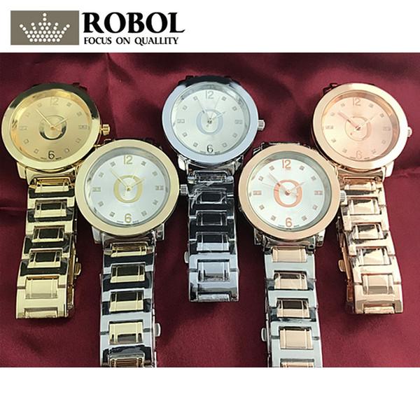 ROBOL Stainless Steel Men Women Couples Quartz Watches Fashion Luxury Jewelry Gift Wedding Noble Elegant Generous Original Copy