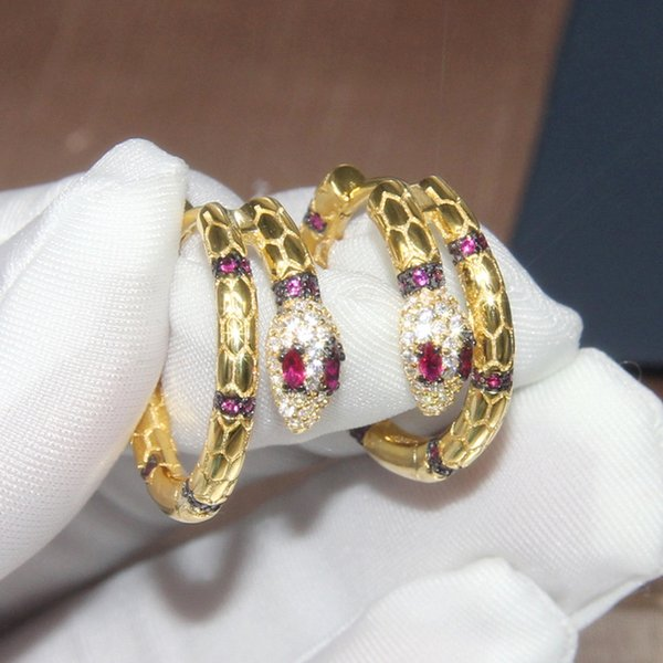 brand luxury designer jewelry woman earrings pure 925 sterling silver cubic zircon red crystal diamonds snake 18K gold plated2999#
