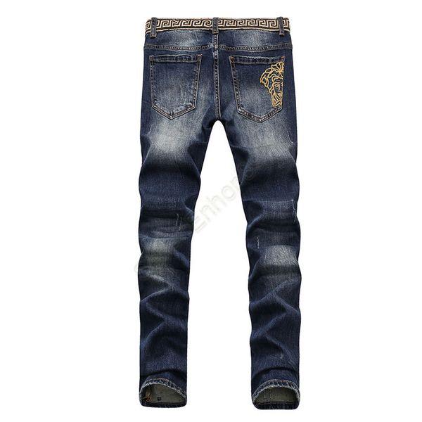 Hombres apenados Ripped Skinny Jeans Diseñador de moda Jeans para hombre Motocicleta delgada Moto Biker Causal Mens Denim Pantalones Hip Hop Men Jeans