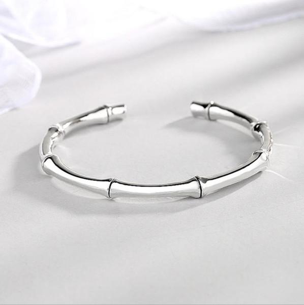 Braccialetto di bambù tendenza moda femminile faccia liscia personalità solida apertura gioielli braccialetto d'argento