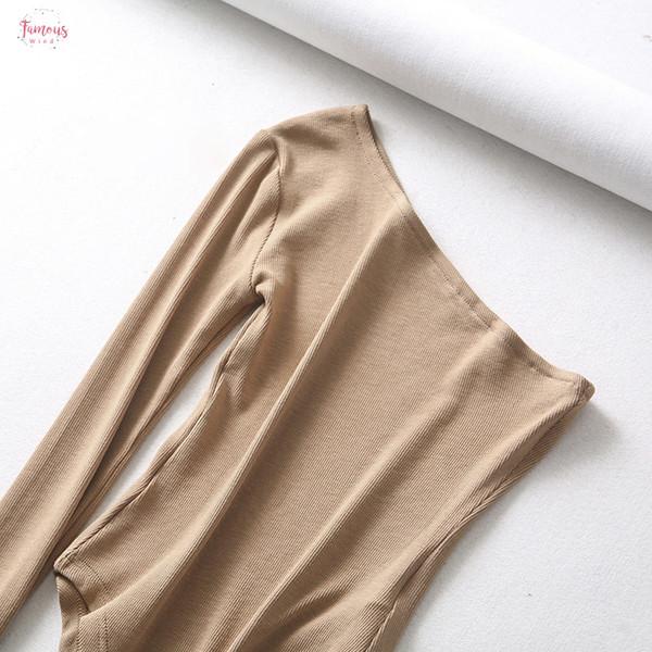 Новая мода женщины сексуальное без бретелек одной дамы Bodysuit Осень рукава Под Топы хлопок Комбинезон Rompers Drop Доставка