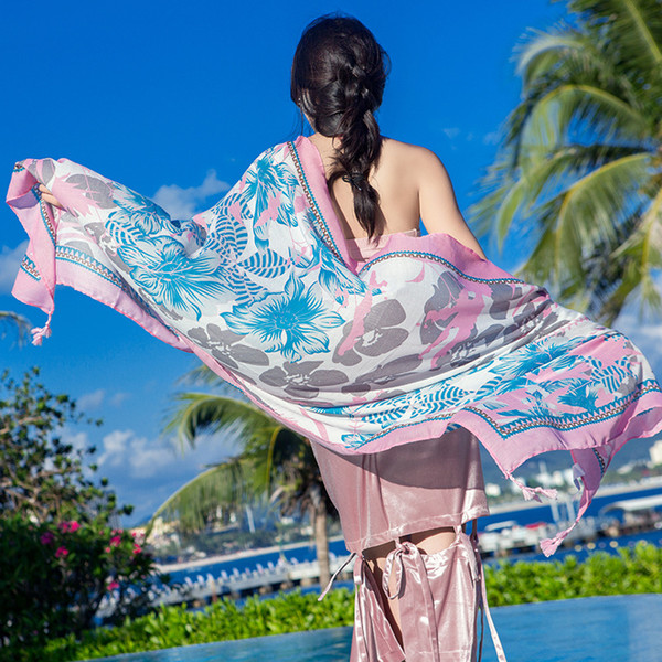 New Cotton and Linen Folk Wind Scarf Silk Scarf Seaside Tourist Beach Towel Sun Protection Shawl Female Gauze Towel