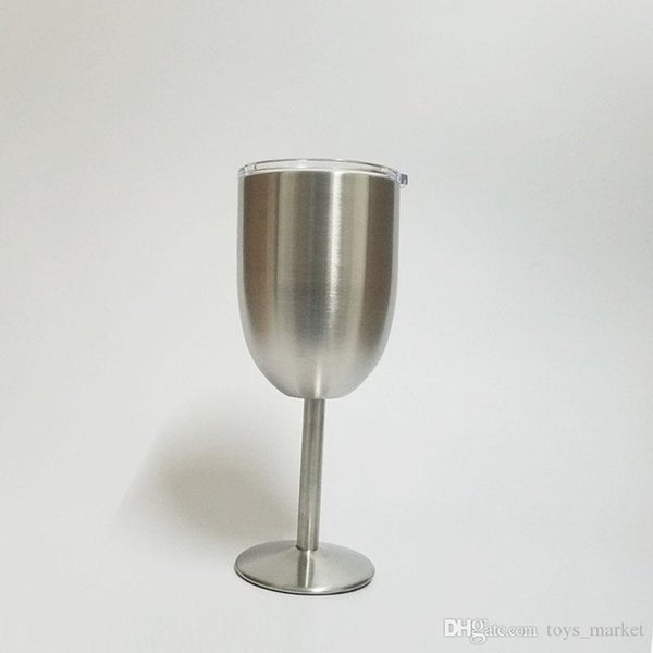 10oz Stainless Steel Wine Glass Double Wall Insulated Metal Goblet With Lid Tumbler Red Wine Mugs