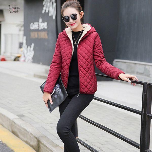 new autumn parkas basic jackets female women regular winter plus velvet lamb hooded coats cotton winter jacket womens outwear coat