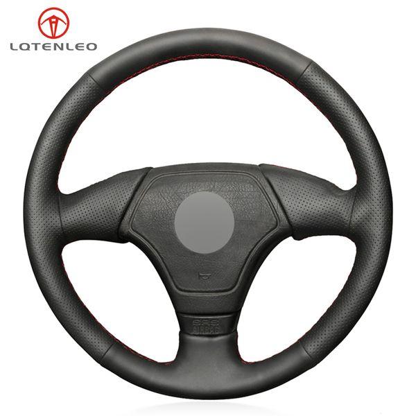 LQTENLEO negro PU cuero artificial DIY Handsewing cubierta del volante del coche para E36 E46 E39