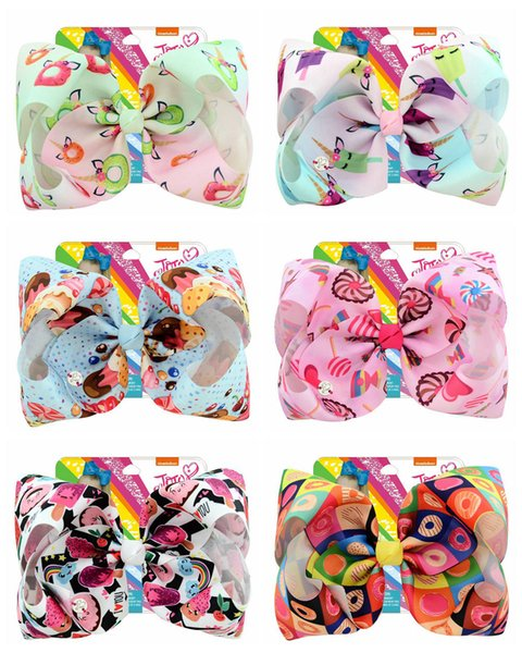 """Hot Sale 8 Inch""""jojo Girls Siwa Unicorn Collection Coral Colorful Hairpin Large Hair Bows Hair Accessories For Girls 10pcs"""