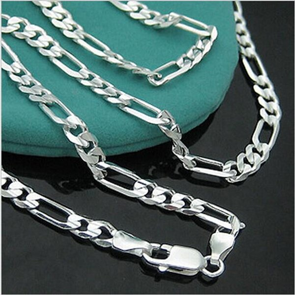 Atacado 925-N144-Colar de cadeia Grátis Sterling Silver 4 milímetros Figaro para Mens Jewelry preço de fábrica