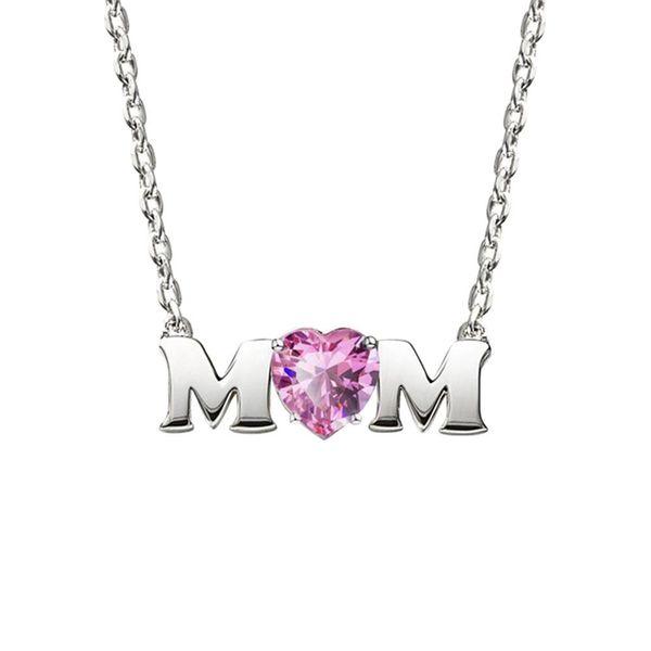 Forma Mãe Dia Letter Colar Coração Cubic Zirconia Pingente de jóias da mãe Presente novo