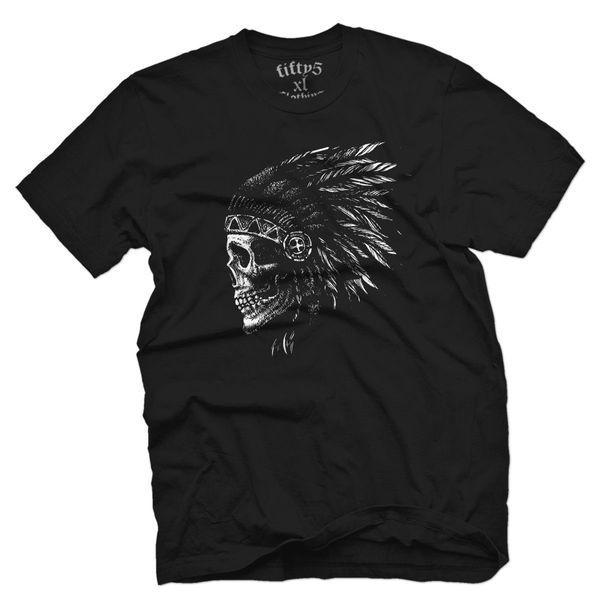 Camiseta de hombre Native Skull 2019 Verano Nueva marca de moda Camiseta Hombre Color sólido Manga corta Casual barato al por mayor