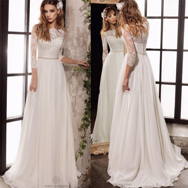 Discount 2020 Vintage Long Sleeve Lace Wedding Dresses New Simple Elegant  Wedding Gowns Plus Size Bohemian Wedding Dress Cheap Wedding Gown Designer