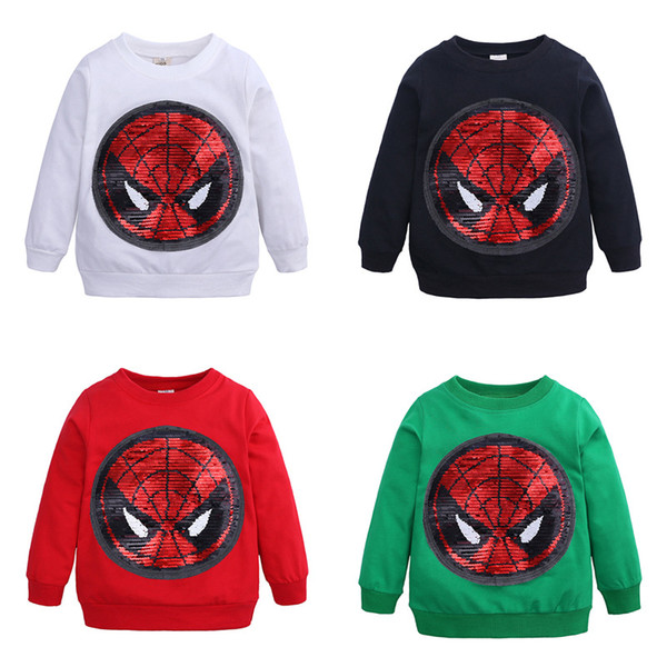 best selling New Avengers Captain America Spider Switchable pattem Sweatshirt With Sequins Casual Round Collar long sleeves T-shirt tees Spring Fall M149