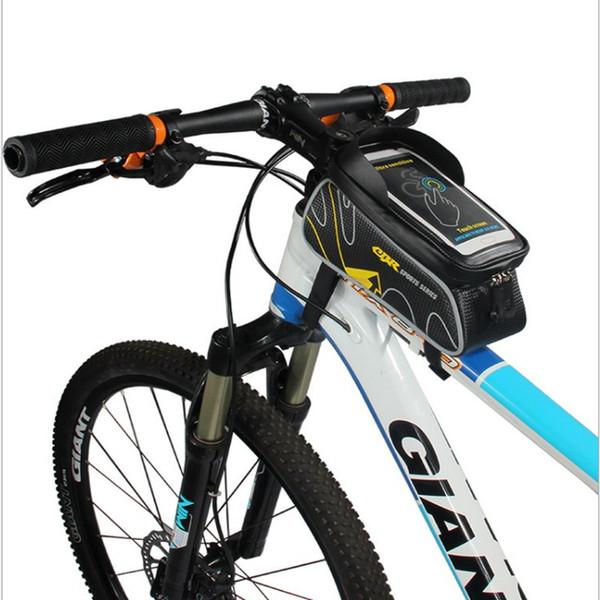 Bisiklet Çerçeve Ön Baş üstü Tüp Su geçirmez Bisiklet Çanta Cep Telefonu Bisiklet Aksesuarları 6.0 / 5.5 için