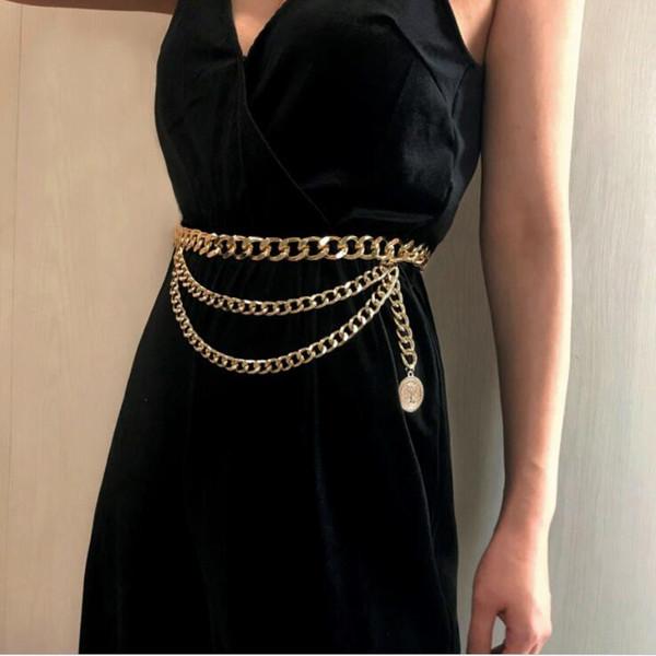 New fashion luxury designer brand chain belt for women Golden coin dolphins portrait metal waist belts Apparel accessories