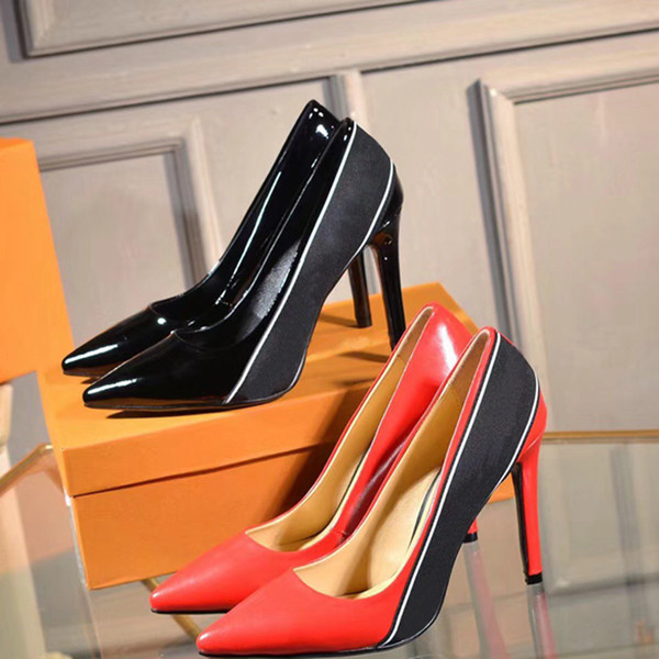 Fashion women shoes Patent Leather Grosgrain Sylvie Webbing Decorative designer high heels 10cm Red Pointed Toes Pumps Dress shoes