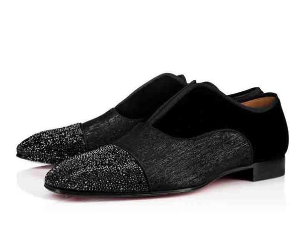 Wedding Men Party Flat Shoes Alpha Male P Strass Flat Red Bottom Dress Oxford Greggo Orlato Flat Black Business Fashion Shoes Male