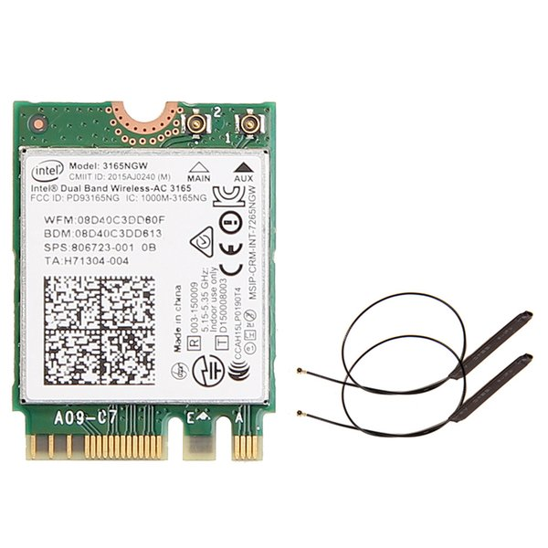 Yeni Bant 2.4G / 5Ghz 433Mbps Kablosuz AC 3165 NGFF 802.11ac WiFi Intel 3165NGW M.2 WLAN Kartı + Bluetooth 4.0 Ağ Mini Adaptör Çift Bant 2 ...