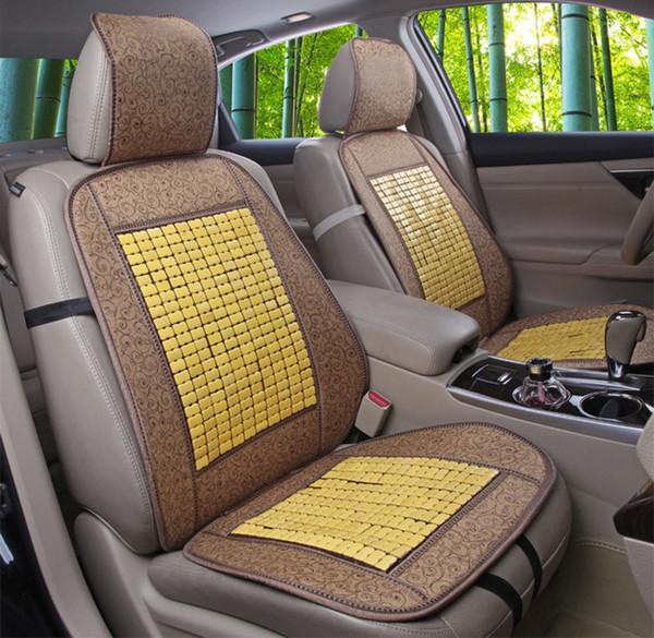 Auto Bambus Sitzkissen Coole atmungsaktive Abdeckung Geeignet für die meisten Fahrzeugschalensitze Helfen Sie, Stress von Arbeitssitzbezügen zu entlastenKostenloser Versand
