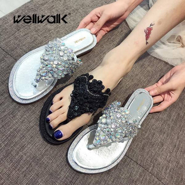 Wellwalk Kadınlar Lüks Terlik Çevirme Kristal Dekorasyon Düz Katlanabilir Yuvarlak Ayak Bayanlar Yaz Rahat Ayakkabılar Kadın Slaytlar