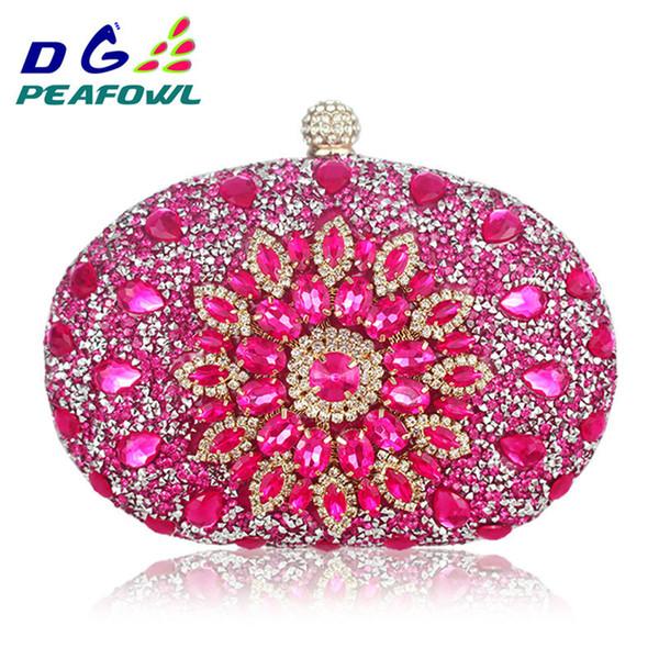 Luxury Clutch Chain Bag Woman Wedding Diamond Crystal Floral Blue Red Sling Designer Purse Cell Phone Pocket Wallet Handbags Y190626