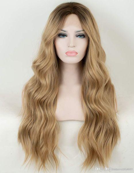 Pre-блондинка парик шнурка волна мягкий коричневый корень пряжи светло-золотой постепенный парик леди не гель длинная волна композитный парик