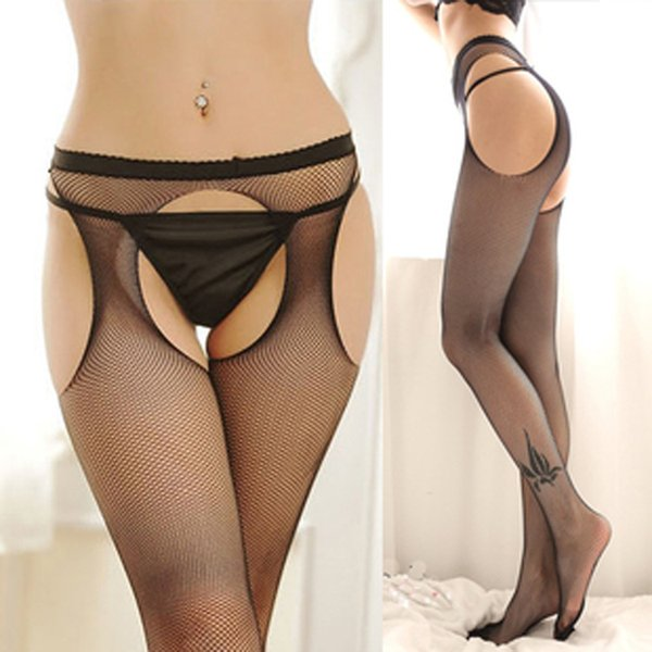 4-Sided open ultra-thin blended elastic net socks tight jumpsuit sexy female lingerie socks hollowed out sex stockings