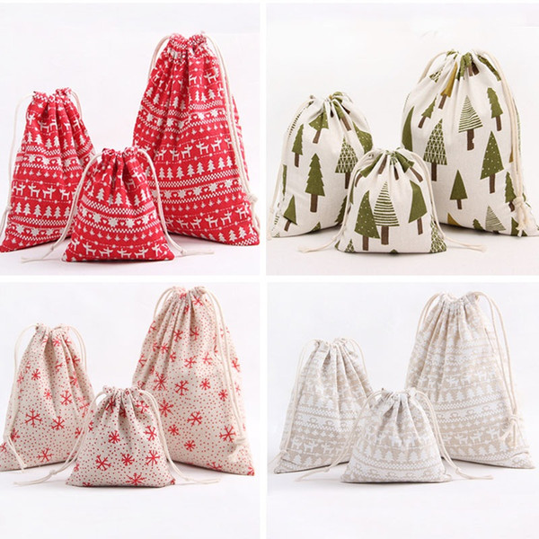 Christmas Gift Bag Reindeer Snowflake Storage Bag Cotton Drawstring Bundle Bags Xmas Candy Tea Package Gift Wrap XMAS Decorations XD19953