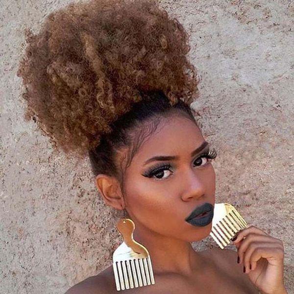 Sintético Afro Pufftail Com Cordão Rabo de Cavalo Curto Kinky Curly Hair Bun Extensão Donut Chignon Hairpieces Peruca Updo Cabelo com Dois Clips