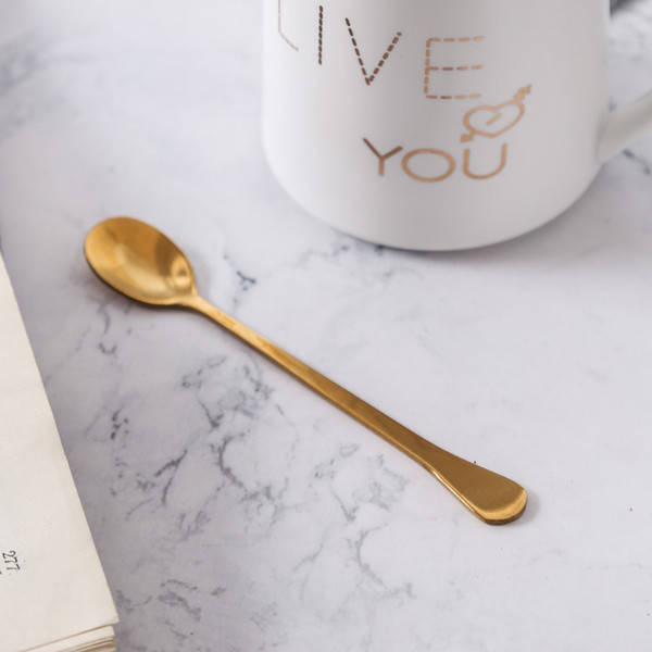 Acciaio inossidabile oro dessert Cucchiaio manico lungo Caffè agitazione cucchiaino cucchiaio da tavola Cucina