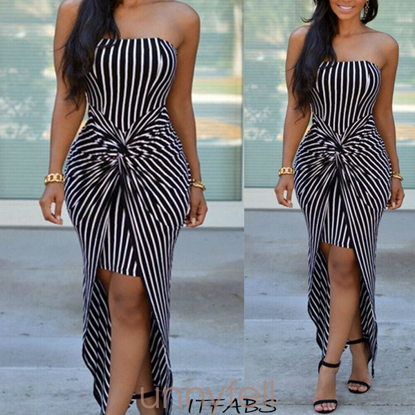 Women Dress Striped Sleeveless Sundress Ladies Evening Party Clubwear Femme Casual Summer Clothes Plus Size