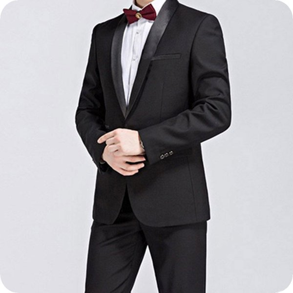 Black Groom Wedding Tuxedos Suit Man Blazers Men Suits for Wedding Slim Fit Jacket 2Piece Custom Made Costume Homme Groomsmen Wear Party