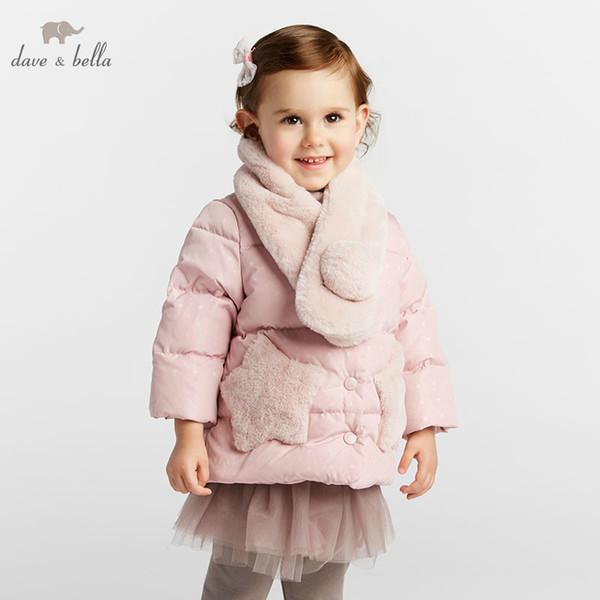 DBM8267 dave bella baby girl jaqueta crianças 90% de pato branco para baixo moda outerwear casaco lenço