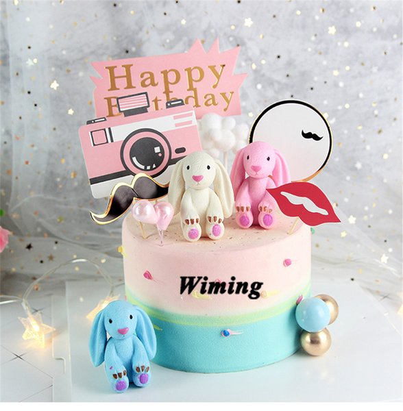 pink cake topper baby toys for girl birthday party decorations birthday cake decorating supplies animal cupcake toppers