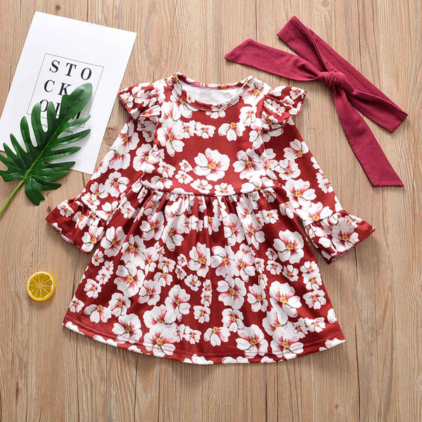 Everweekend Baby Girls Floral Print Ruffles Dress Vintage Color Bell Sleeve Holiday Dress with Headbands