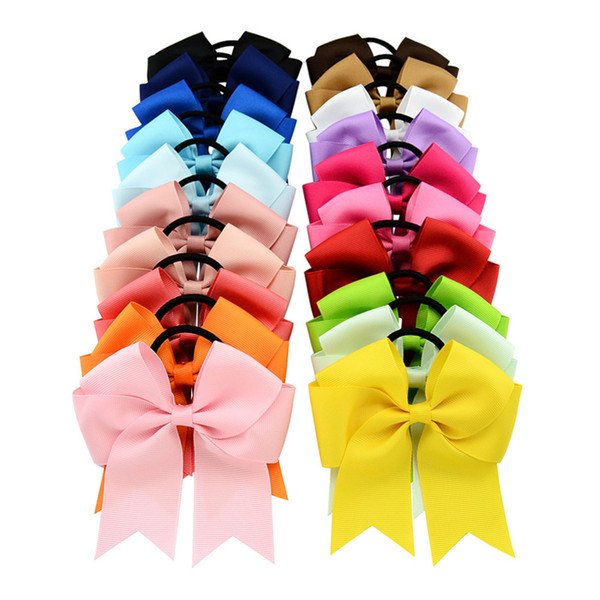20 Colors 4.5 Inch Solid Cheerleading Ribbon Bows Grosgrain Cheer Bows Tie With Elastic Band Girls Rubber Hair Band EFJ442