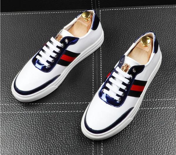 Neue Männer Glitter Schuhe Herrenmode weiß schwarz Casual Wohnungen Herren Designer Kleid Schuhe Pailletten Müßiggänger Männer Plattform Fahren Schuhe