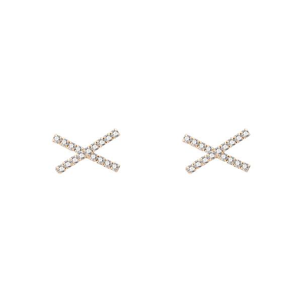 Koreanisch Einfache Baitao Cross X Design Net Rote Ohr Nägel Weibliche Persönlichkeit Modische Tempe Zirkon Ohrringe Sanfte Temperament Perle Ohrringe